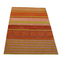 Colorful Modern Oriental Rug, 3'X4' Mat Hand Knotted 100% Wool Area Rug SH12262 - Our Modern & Contemporary Rug Collections are directly imported out of India & China.  The designs range from, solid, striped, geometric, modern, and abstract.  The color schemes range from very soft to very vibrant.