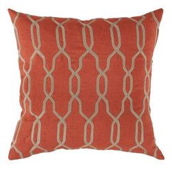 "Surya - Surya 22 x 22 Decorative Pillow, Orange-Red and Parchment (COM005-2222P) - Surya COM005-2222P 22"" x 22"" Decorative Pillow, Orange-Red and Parchment"