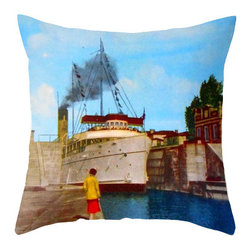 Pictorial History Decor - Unique nautical throw pillow, 18 x 18 vintage style w/faux down insert - An old photo of the S.S. Keewatin leaving the locks at Sault Ste. Marie, Michigan was edited colorized and re-mastered to be used in this artsy nautical pillow cover. Launched in 1907 as a passenger ship that ran between Lake Superior and Lake Huron. After she was retired she was relocated to Saugatuck, Michigan and spent decades as a museum attraction listed on the National Registry of Historic Places in the U.S.  She recently traveled back to her home in Canada and is being restored to her glory days! It is said to be the last true Edwardian steamer left in the world!