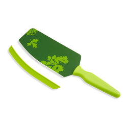 Kuhn Rikon - Kuhn Rikon Cut & Scoop Flexi Spatula Knife Green w/ Green Print - With the Kuhn Rikon Flexi Spatula Knife, cutting & scooping up your minced, diced or cubed vegetables is super easy! With this one tool you can cut onions, carrots, potatoes, herbs and more. Then scoop diced, minced or cubed vegetables from your cutting board to your pot or bowl with ease.  Features: Green w/ green print design Stores safely with a silicone guard  Sharp edge for cutting  Flexible for scooping  Dishwasher safe