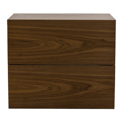 Temahome - Aurora Night Stand (Assembled), Walnut - Aurora is a family of case goods with five models to choose from. From a two drawer night stand, a three drawer or five drawer chest, and a six drawer dresser, these simple yet functional products will provide the extra space to store and protect your things.