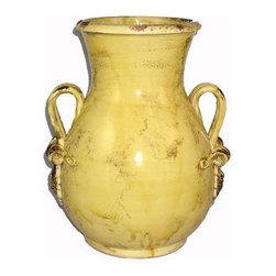 Artistica - Hand Made in Italy - Scavo Giallo: Large Vase with Two Side Rings - Scavo Giallo Collection:
