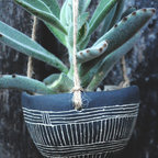 Line Pattern Ceramic Hanging Planter by Half Light Honey Studio - These lovely earthenware planters are handmade to order in artist Samantha Carter's Asheville, North Carolina workshop.