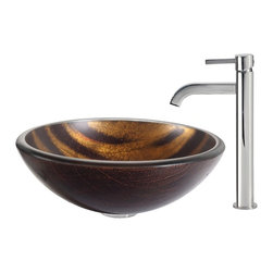 Kraus - Kraus Bastet Glass Vessel Sink and Ramus Faucet Chrome - *The warm coppery tones and contrasting dark brown stripes of the Bastet sink have a soft sheen; running water turns the matte exterior to a vibrant, shiny surface. Pair it with the minimalist form of the Ramus faucet in chrome for a look of polished simplicity