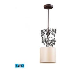 ELK Lighting - One Light Antique Darkwood Drum Shade Pendant - One Light Antique Darkwood Drum Shade Pendant