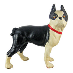 Zeckos - Cast Iron Boston Terrier Dog Statue Hand Painted - This wonderfully detailed cast iron Boston Terrier statue is the perfect gift for dog lovers. Measuring 10 inches tall, 10 inches wide and 4 1/2 inches deep, it has a beautiful hand-painted finish, and excellent detail. It makes a great doorstop, and is perfect for anyone who owns a Boston Terrier.