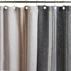Coyuchi - Coyuchi Rustic Linen Shower Curtain - This rustic linen shower curtain from Coyuchi has yarn-dyed stripes that infuse weighty natural linen with warm color. This shower curtain may be used with a liner or without-just squeeze the water out of the lower edge after use and let it dry. Hangs from rustproof metal grommets.