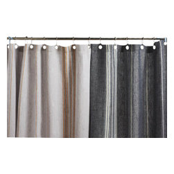 Coyuchi® - Coyuchi® Rustic Linen Shower Curtain, Midnight W/ Deep Dusty Aqua  & White - This rustic linen shower curtain from Coyuchi has yarn-dyed stripes that infuse weighty natural linen with warm color. This shower curtain may be used with a liner or without-just squeeze the water out of the lower edge after use and let it dry. Hangs from rustproof metal grommets.