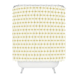 DENY Designs - Caroline Okun Modular Beige Shower Curtain - Your bath can be as hip and stylish as you with this shower curtain. A lively, retro graphic in biscuit and white printed on woven polyester easily coordinates with just about any bathroom, and will add the perfect touch of modern cool.