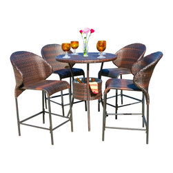 Great Deal Furniture - Bennett Outdoor 5pc Counter Stool Bar Set w/ Ice Pail - Enjoy the outdoors or poolside with the Bennett 5pc counter stool bar set. Constructed from multi-brown wicker, this set includes one (1) table, complete with four (4) counter stools and a convenient ice pail for keeping beverages cool within close proximity to your guests. This set is perfect for your backyard, deck or poolside area.
