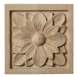 """Ekena Millwork - 3""""W x 3""""H x 5/8""""D Small Dogwood Flower Rosette, Maple - Our rosettes are the perfect accent pieces to cabinetry, furniture, fireplace mantels, ceilings, and more.  Each pattern is carefully crafted after traditional and historical designs.  Each piece is carefully carved and then sanded ready for your paint or stain.  They can install simply with traditional wood glues and finishing nails."""