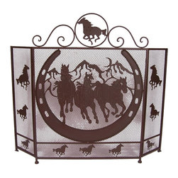 Zeckos - Brown Metal Horse and Horseshoe Fireplace Screen - Not just functional, fireplace screens can be a major statement about your room's decor and your personality. Fireplaces are great, but set this 3-panel Western style horse and horseshoe in front of it, and it can transform the room into something beautiful. Crafted from metal, it has a highly sought weathered brown enamel finish with a raised and textured horse and horseshoe design . It will make quite a statement and accommodates most fireplaces at 33.5 inches (77 cm) high, and the center panel is 20.25 inches (51 cm) wide with each side panel measuring 10 inches (25 cm) wide, and folds flat so you can easily store or move it. This decorative fireplace screen would make a very welcomed housewarming gift sure to be enjoyed for many years.