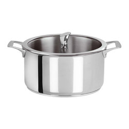 Cristel Casteline Stainless Steel 4.5 qt Stew Pan w/Glass Lid, Fixed Handle - Cristel Casteline stainless steel 4.5 quart stew pan comes with a matching glass lid