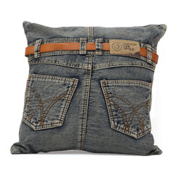 ZUO ERA - Jean Cushion Blue Denim w/ Back Jean - Made from recycled denim fabric sewn into a whimsical design, the Jean cushion is a must for any room.