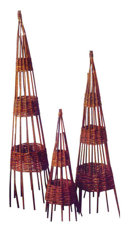"Master Garden Products - Willow Round Obelisk, 17""w - Bentwood willow wigwam obelisks are a classic choice for an English-type garden. Not only do they add height to your garden, but they can be used as a smart way to climb sweet peas or French beans. Alternatively, they can be planted with scented climbers and used indoors. Different heights and styles are available."