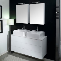 Iotti - 47 Inch Bathroom Vanity Set - Side by side basins, vanities and medicine cabinets make this vanity set perfect for the busy bathroom that wants modern styling and long lasting performance. You can choose Glossy White, Wenge, Gray Oak and Natural Oak finishes. The striking raised-basin design and one-piece wooden top makes this separate in use, but one in looks. Reversible mirrored doors on the two shelf medicine cabinets give flexible use to each user. Made in Italy, imported for you. Set Includes: . Vanity Cabinets (4 drawers). (2) Undermount ceramic sink. (2) Medicine cabinet (20.6 inch x 27.7 inch x 5.7 inch each). (2) Vanity light (11.8 inch each). Vanity Set Features:. Vanity cabinets made of engineered wood. Cabinets features waterproof panels and push to open drawers. Available in Glossy White (as shown), Gray Oak, Natural Oak, Wenge. Cabinets feature 4 drawers. Faucet not included. Perfect for modern bathrooms. Made and designed in Italy. Includes manufacturer 5 year warranty.