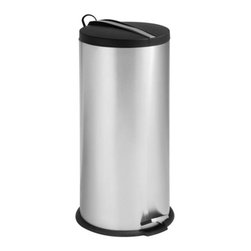 30L Round Step Can With Bucket - Honey-Can-Do TRS-02112 2-Tone Stainless Steel Step Trash Can. A contemporary addition to any home or office, this 30L trash can boasts sturdy construction for daily use. The steel foot pedal provides hands-free operation to keep germs at bay. A removable inner bucket keeps bags from snagging and is easily cleanable. The deep recessed lid, hides trash bags from view. The hand print resistant exterior is easy to clean and features a plastic fold down carrying handle.