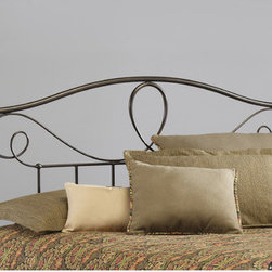 """FBG - Sylvania Metal Headboard - For anyone who wants an eye-catching headboard, the Sylvania bed is for you! With a dynamic design featuring a standard-looking grill beneath an elegant pattern of curves, twists, and provocative shapes, this headboard has some attitude. Thick, strong finials sit atop stout posts to make the Sylvania headboard a combination of sturdy ruggedness and finesse design. This is a bed that is sure to garner attention. Features: -Metal construction.-French Roast finish.-Sylvania collection.-Gloss Finish: Yes.-Powder Coated Finish: No.-Hardware Material: Metal.-Non Toxic: Yes.-Scratch Resistant: No.-Adjustable Height: No.-Lighting Included: No.-Wall Mounted: No.-Reversible: No.-Hardware Finish: French Roast.-Finished Back: Yes.-Distressed: No.-Hidden Storage: No.-Freestanding: No.-Frame Required: Yes.-Frame Included: No.-Drill Holes for Frame: Yes.-Swatch Available: No.-Eco-Friendly: No.-Product Care: Wipe with a clean, damp cloth.-Recycled Content: No.Specifications: -EPP Compliant: No.-CPSIA or CPSC Compliant: Yes.-ASTM Certified: No.-ISTA 3A Certified: Yes.-General Conformity Certificate: Yes.-Green Guard Certified: No.Dimensions: -Overall Height - Top to Bottom (Size: Full): 53"""".-Overall Height - Top to Bottom (Size: Queen): 53"""".-Overall Height - Top to Bottom (Size: King): 53"""".-Overall Depth - Front to Back (Size: Full): 2.5"""".-Overall Depth - Front to Back (Size: Queen): 2.5"""".-Overall Depth - Front to Back (Size: King): 2.5"""".-Overall Product Weight (Size: Queen): 20 lbs.-Overall Product Weight (Size: King): 24 lbs.-Overall Product Weight (Size: Full): 19 lbs.-Top of Headboard to Bed Frame: 33"""".-Bottom of Headboard to Floor: 20"""".Assembly: -Assembly Required: No.-Additional Parts Required: No.Warranty: -10 Year warranty against manufacturer's defects."""