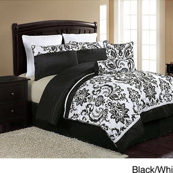 None - Daniella 8-piece Comforter Set - Daniella comforter sets not only show a neat combination of colors,but also bring together a lovely black and white,oversized damask pattern in one of the most unique bedding collections ever seen.
