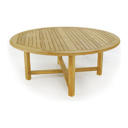 Westminster Teak Furniture - Buckingham 6ft Teak Table - Our Buckingham is a generous 6 foot diameter round teak outdoor table that is a beautiful addition to your lawn or patio.  Like all teak, it will patina to a rich, silvery color over time, or this circular table can be treated to maintain its original luster. Even King Arthur would be proud of this beautiful round table!  At 6 feet in diameter, the Buckingham Table can fit your guests, your candles and your cocktails, although we do suggest our large Lazy Susan to conveniently pass the potatoes.