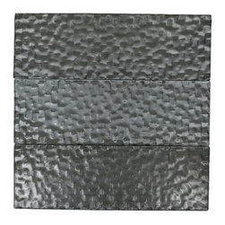 """GlassTileStore - Terrene Chrysler 4x12 Glass Tile - TERRENE CHRYSLER 4x12 GLASS TILE  This striking glass can make any room atheistically appealing. The wavy finish brings a distinctive design and will add a nice touch for a contemporary and modern room. This tile is great to use for the bathroom, kitchen or pool installation.      Chip Size: 4x12   Material: Glass   Color: Metallic Grey    Finish:  Polish   Sold by the Square Foot - 3 loose 4""""x12"""" pieces   Thickness: 3mm             - Glass Tiles -"""
