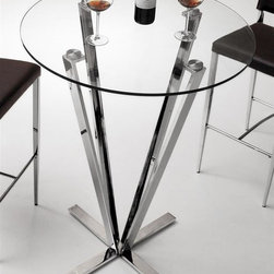 Zuo Modern - Mimosa Bar Table - Tempered round glass on top. Stainless steel frame. Weight capacity: 150 lbs.. Assembly required. 32 in. Dia. x 43 in. H (53 lbs.). Warranty. Care InstructionsRefreshing, clean and strong, the Mimosa bar table is chic yet durable for any entertainment venue.