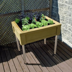 RTS Resin Raised Planter Box - The RTS Resin Raised Planter Box lets your bring out your green thumb without having to get on your hands and knees. Made from durable UV-stabilized polyethylene resin the planter box allows for 9 inches of adjustment in the chrome legs which have built-in levelers to maintain stability. Available in several colors it fits in with any decor. For outdoor use. One-year limited warranty. Dimensions: 44L x 32W x 30-39H inches.