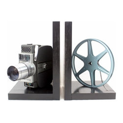 LightAndTimeArt - Keystone Americana - Vintage Camera Bookends - DVD Holder - Movie Theater Decor - Original Keystone Americana Electric Eye 8mm Camera, 8mm film and film reel – modified into a pair of bookends.