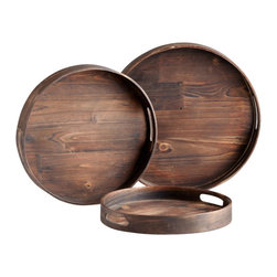 Cyan Design - Round Dupre Trays, Set of 3 - Round Dupre Trays -Set of 3  Wood with Charred Pine Finish