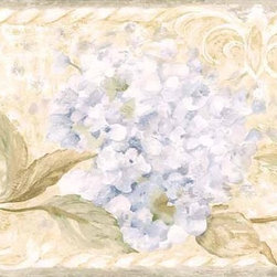 York Wallcoverings - Brown Hydrangea Vine Wallpaper Border - Wallpaper borders bring color, character and detail to a room with exciting new look for your walls - easier and quicker than ever.