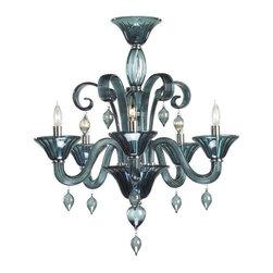 Cyan Design - Cyan Design Five Lamp Chandelier in Grey - Five Lamp Chandelier in Grey with Candle Shaped Bulbs.