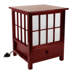 "Oriental Furniture - 19"" Hokkaido Lamp with Drawer - Rosewood - This Hokkaido Lamp includes a convenient storage drawer. Handcrafted by artisans in Guangdong, it features an elegant spruce frame and a white rice paper shade that produces a soft, ambient light."