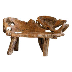 Teak Root Bench, Small - Hand crafted teak root bench is equally suited indoors or in the garden.