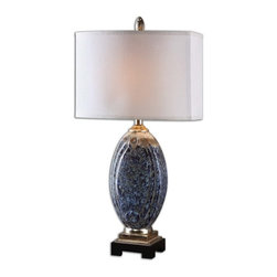 Silver Nest - Leigh Table Lamp - This Lamp Has Mottled Blue Glaze, Rust Distressing And Aged Ivory Drip With Silver Champagne Details. The Rectangle Hardback, Front And Back Convex Shade Is A Silken Off White Fabric with Natural Slubbing.