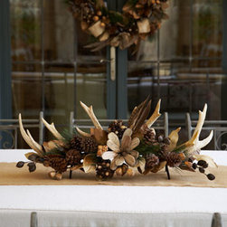 "Horchow - 34"" Natural Centerpiece - Exclusively ours. This handcrafted centerpiece has cozy, pioneer appeal with leaves, pine cones, wood, and burlap ribbon. Made of leaves, pine cones, driftwood, pods, PVC, and burlap. 34""W x 16""D x 11.5"" T. Imported."