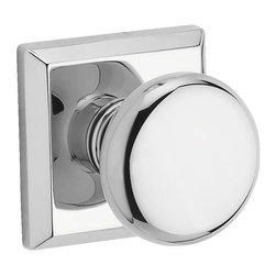 Baldwin Hardware - Reserve Round Privacy Knob with Traditional Square Rose in Polished Chrome - Since 1946, Baldwin Hardware has delivered modern luxury to discriminating homeowners, architects and designers through superior design, craftsmanship and functionality.