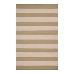 Rain Strip Rug - Sage, 8' X 10' - Broad stripes of your chosen color alternate with a neutral parchment hue in the transitional Rain Stripe Rug, a luxury floor covering for decor in a range of styles from nautical to minimalist to global. This area rug's medium pile feels rich underfoot. Traditionally hand-hooked and crafted from quality synthetic fibers to endure use outdoors or in, the rug comes in lush Carnelian red, charming Stormy Sea blue, burnt Espresso and quiet Sage Green.