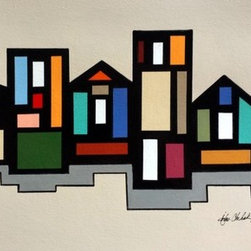 Abstract Rowhouse 1 (Original) by John Chehak - I love painting architectural structures and stretched the truth about this abstract vision of rowhouses.