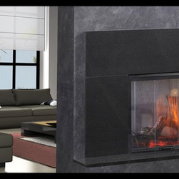 """Simplifyre See-Through Electric Fireplace - The Simplifyre See-Through Electric Fireplace creates a dramatic room divider that can literally go anywhere. No venting. No gas lines. It's easy to install, just plug it in to any 110 volt outlet. The generous 27"""" x 20"""" viewing area on both sides shows off the realistic-looking flickering flames and logs. It comes standard with on/off control and fixed glass doors for both sides. And it's extremely economical to operate - just 5 cents/day!"""