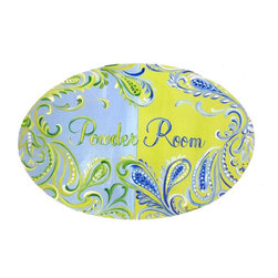 """Stupell Industries - Paisley Powder Room Bath Plaque - Decorative and fuctional. Made in USA. MDF Fiberboard. Original Stupell art. Approx. 11 in. W x 15 in. L. 0.5 in. ThickWhat better way to add class to your bath than with a wall plaque by from """"The Stupell Home decor Collection."""" Whether it is the black and white """"la toilette,"""" the black oval """"powder room,"""" or the rectangle crest """"le bain,"""" one thing stays the same: each plaque is hand finished, made in the USA, and comes with colorful grosgrain ribbon for hanging. Bath plaques from """"The Stupell Home decor Collection"""" are meticulously crafted by a variety of in-house artists and come on ½"""" thick MDF fiberboard."""