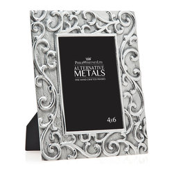 """Philip Whitney - Aluminum Scroll Frame, 4""""x6"""" - Add instant elegance to your home using the 4-by-6 inch Aluminum Scroll Frame. Featuring slightly distressed aluminum with an intricate raised scroll design, this frame has a feminine, antique look that pairs well with traditional decor. Set it atop a desk or mantel for a pretty, polished appearance."""
