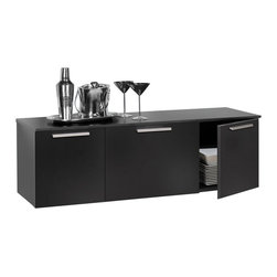 Prepac - Prepac Coal Harbor Wall Mounted Buffet in Black - Prepac - Buffet Tables & Sideboards - BCBW02031 - Stylish practical and ... affordable! This hanging Buffet is designed for use in a wide range of applications. It can be used individually or with the matching Hutch in your dining room living room office media room or entryway. Doors have hidden self-closing hinges and handles are solid metal with a brushed nickel finish. Prepac's hanging rail mounting system simplifies installation and an easy assembly instruction booklet is included.