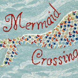 """Trans-Ocean - 24""""x36"""" Frontporch Mermaid Crossing Water Mat - Richly blended colors add vitality and sophistication to playful novelty designs.Lightweight loosely tufted Indoor Outdoor rugs made of synthetic materials in China and UV stabilized to resist fading.These whimsical rugs are sure to liven up any indoor or outdoor space, and their easy care and durability make them ideal for kitchens, bathrooms, and porches. Made in China."""