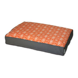 ez living home - Honeycomb Memory Foam Topper Pillow Bed Tangerine, Large - *Aesthetically pleasing geometric pattern, EZ to decorate with, suitable for any style.
