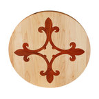 Kentucky Cutting Boards - Round Maple Cutting Board with Fleur de lis Ring - Chop your ingredients in style with this made in the USA round cutting board with a fleur de lis ring inlay. Made of maple, cherry and walnut wood, the fine craftsmanship will encourage your culinary inclinations.