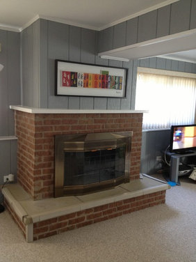 How to update this dated brick fireplace - Houzz