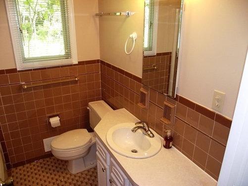 brown tile bathroom update suggestions. Black Bedroom Furniture Sets. Home Design Ideas