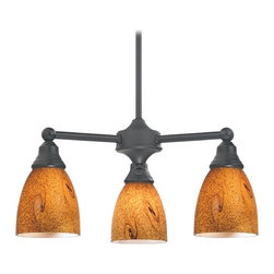Design Classics Lighting - Mini-Chandelier with Brown Art Glass in Matte Black Finish - 598-07 GL1001MB - Transitional matte black 3-light chandelier. Takes (3) 100-watt incandescent A19 bulb(s). Bulb(s) sold separately. Dry location rated.