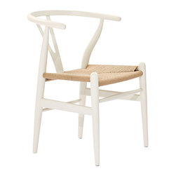 Woven Shaker Chair in White - Marrying spartan natural wood with modern design, this Woven Shaker Chair makes a great match with a rustic harvest table or modern dining table. The tightly woven seat and simple, sturdy foundation make the chair a must-have for any modern home.