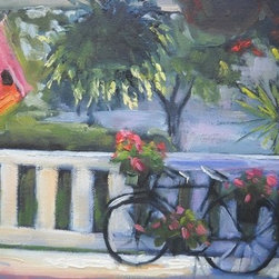 """The Summer Porch"" (Original) By Carol Schiff - I Sat On This Lovely Porch, Sipping Lemonade With My Friend. Last Summer.  She Lives In A Small Town That Has Not Changed Over The Years, One That Still Has A 4Th Of July Parade.  For Me, This View Reminded Me Of Simpler Times."
